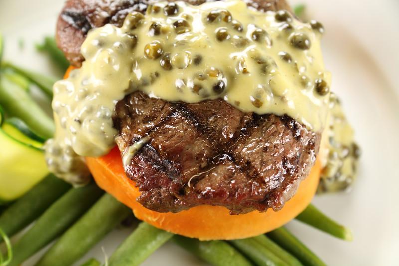 Rib-eye Steak with Peppercorn Sauce
