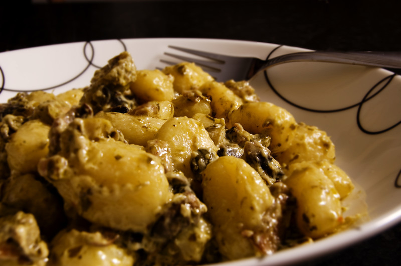 Spinach Gnocchi with Porcini Sauce