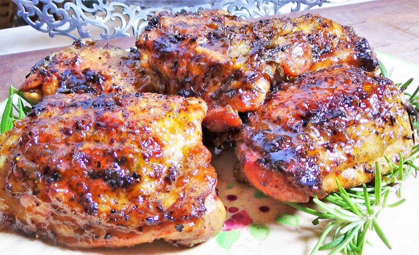 Grilled, Orange & Rosemary Chicken Thighs