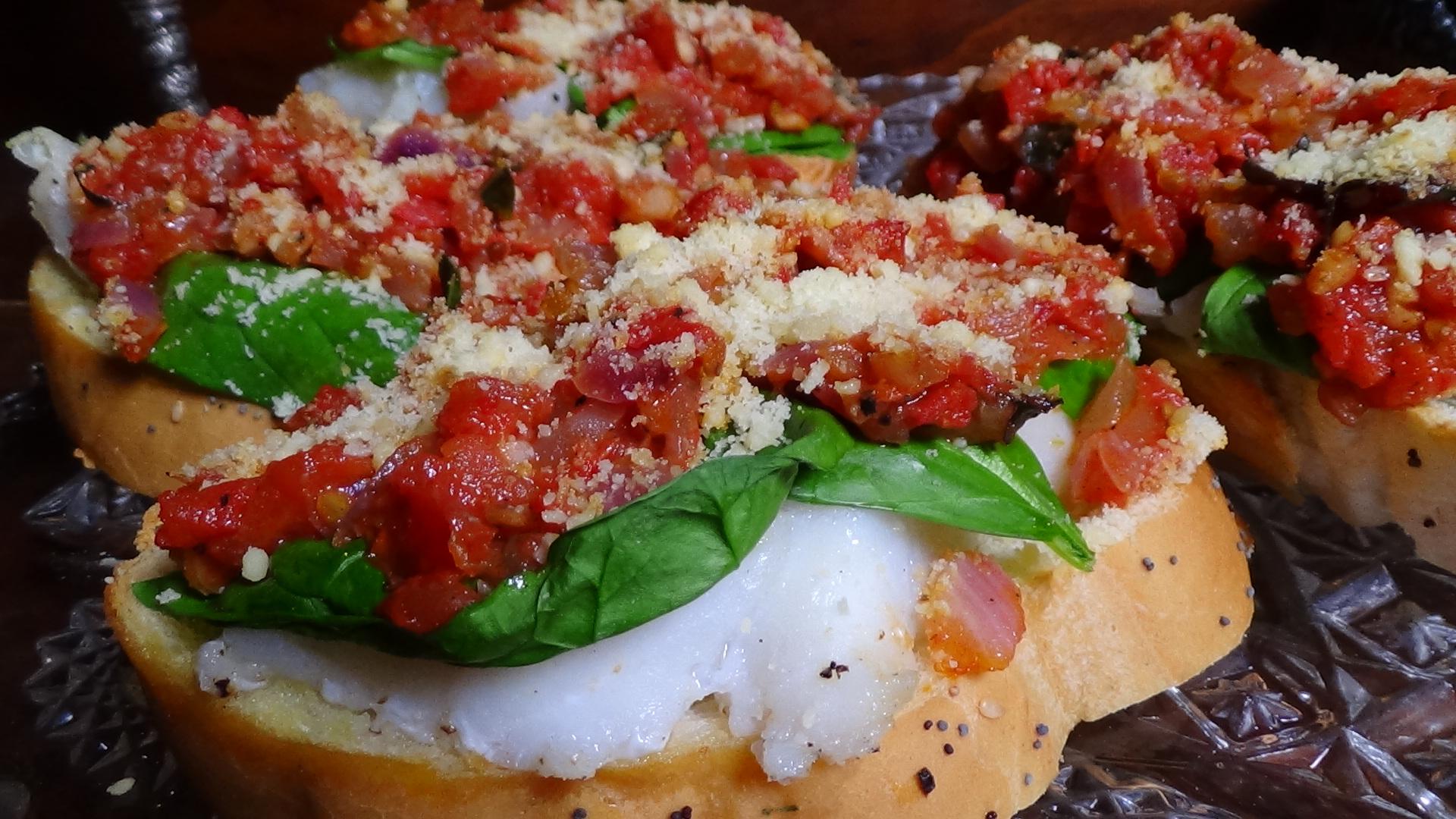 Mediterranean Roast Cod Bruschetta
