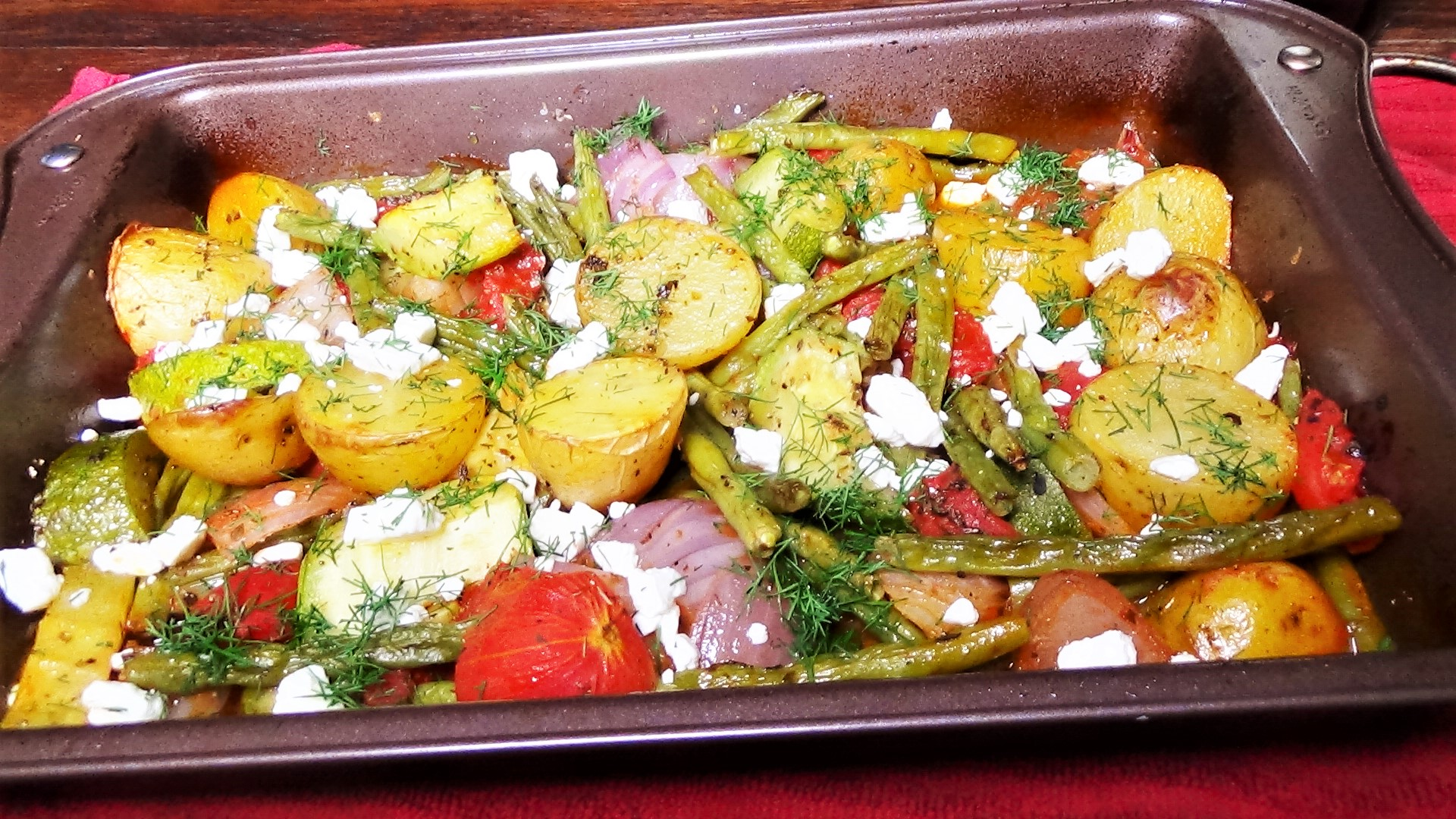 Roasted Greek Vegetables with Dill and Feta