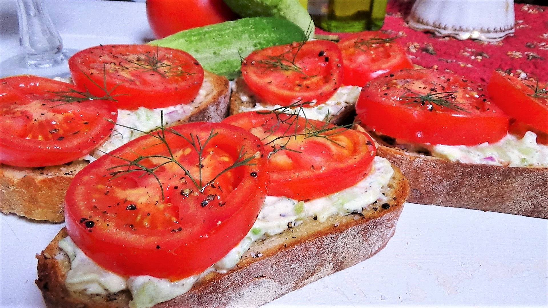 Open-Faced Tomato Sandwich with Cucumber Dill Spread