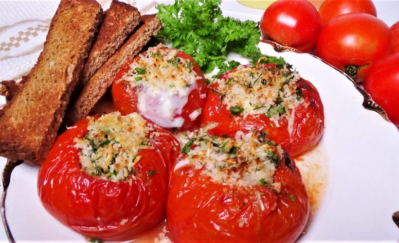 Baked Eggs in Tomatoes with Herbed Topping