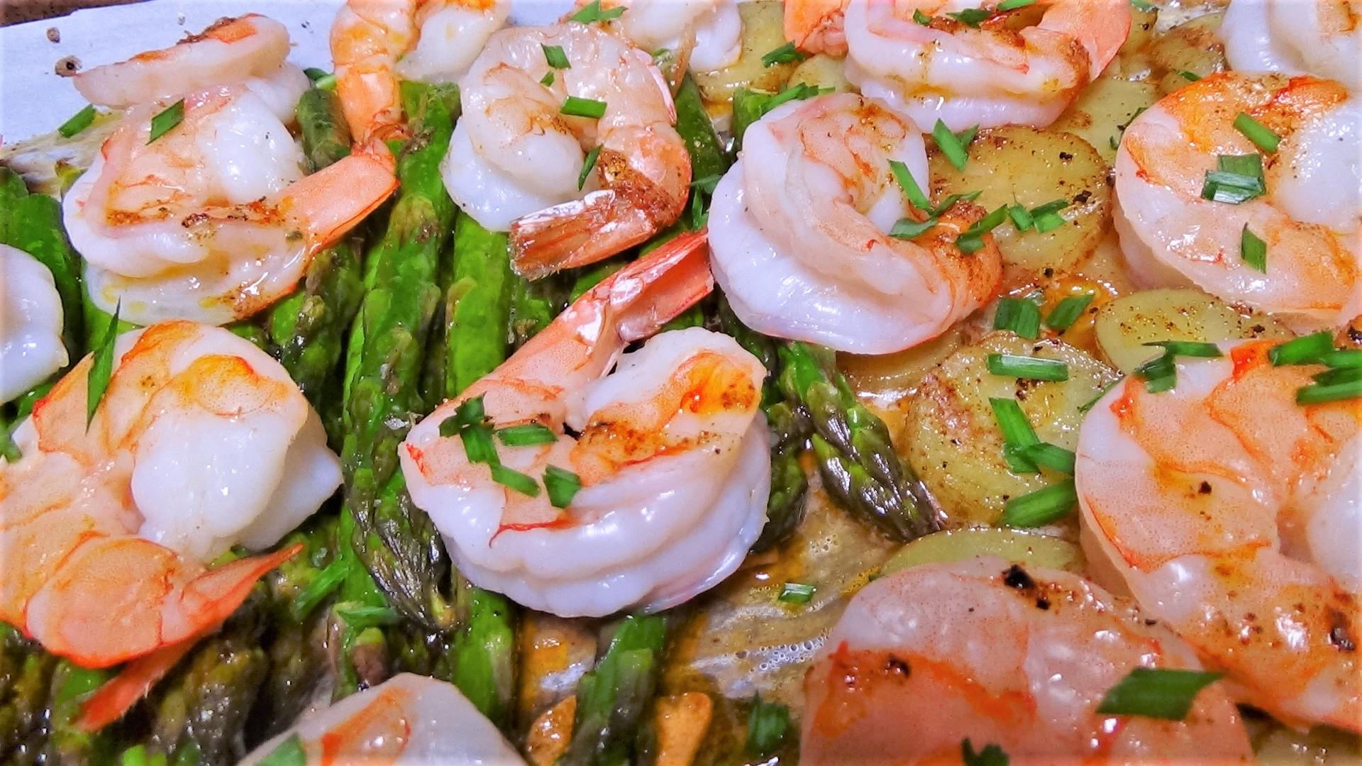 Sheet Pan Shrimp, Asparagus and Fingerling Potatoes